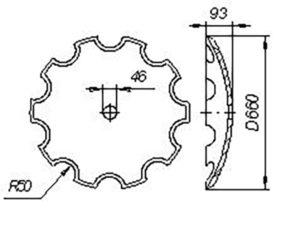 Диск БДТ Н.154.00.428 (Ø660) кругл.отв. т.о ( Бороны дисковые БДТ-3,0; БДТ-7,0; БДТ-10; БДСТ-2,5) м=17кг