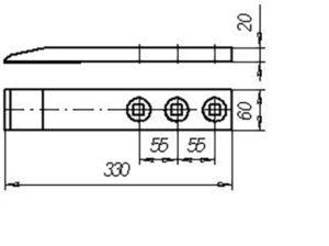 Долото КГЮ.11300 (литое) (Узел ПГК 01.110 Культиваторы глубоко-рыхлители ПГН-3; ПГН-5; КПГ-250А; ПГ-3-100; ПГ-3-5; КПГ-2-150) м=3кг
