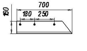 Лемех КГП 01.545; 01.546 (1-но сторонний) L=700 (Культиваторы глубоко-рыхлители ПГН-3; ПГН-5; ГУН-4; КПГ-250А) м=7.5кг