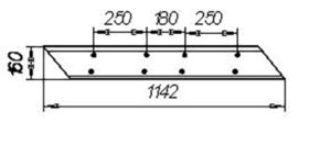 Лемех КГЮ (2-х сторонний) L=1142 (лев.,прав.) (Культиватор КПГ-2-150)м=13.5кг