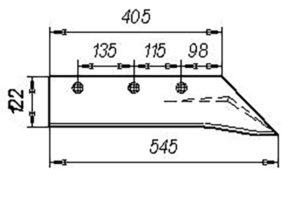 Лемех ПЛЖ (листовой, сормайт) (на 3, 4, 5, 8 -корпусные плуги), м=7,8 кг